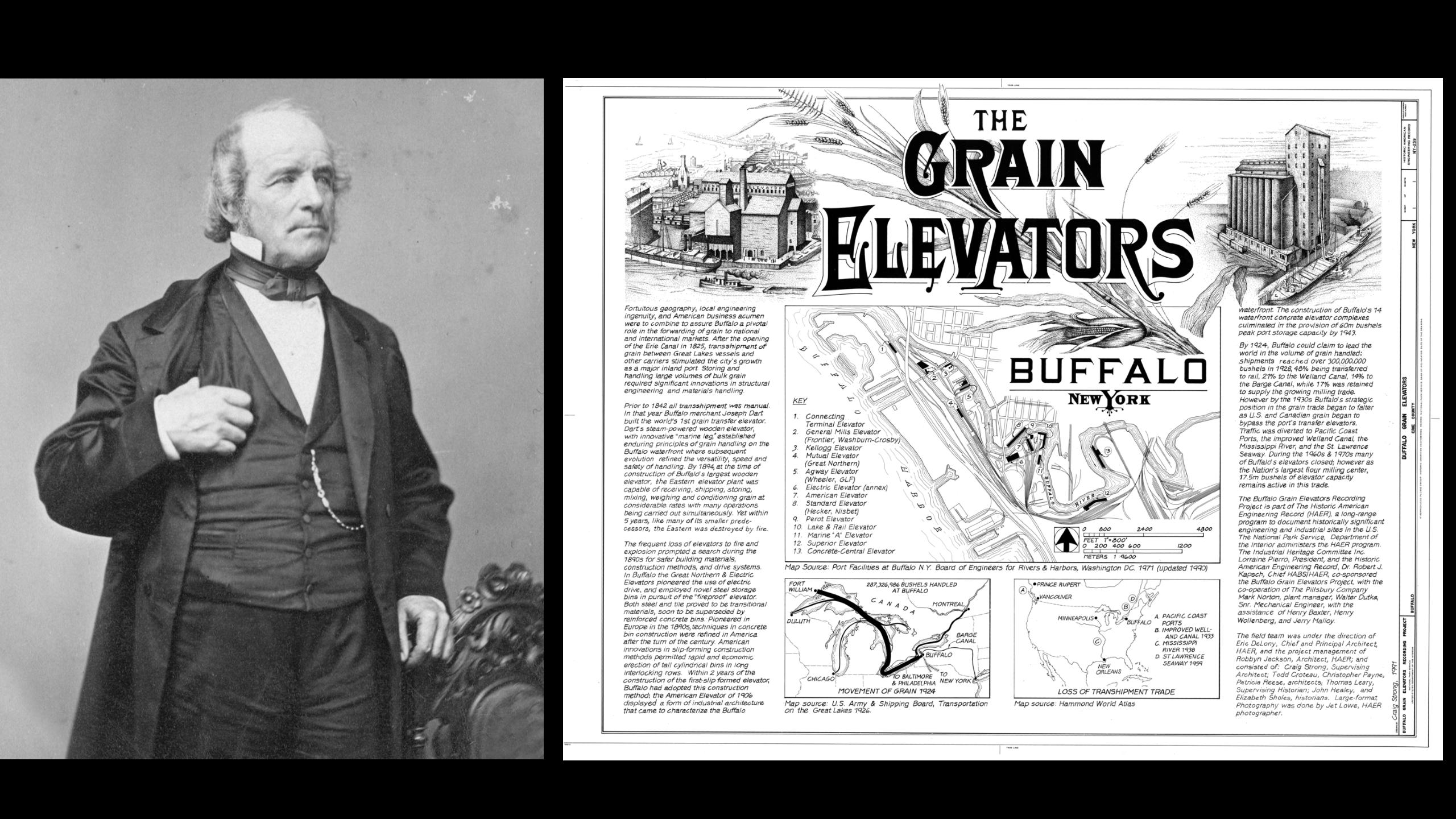 A portrait of Joseph Dart and an early map of Buffalo grain elevators