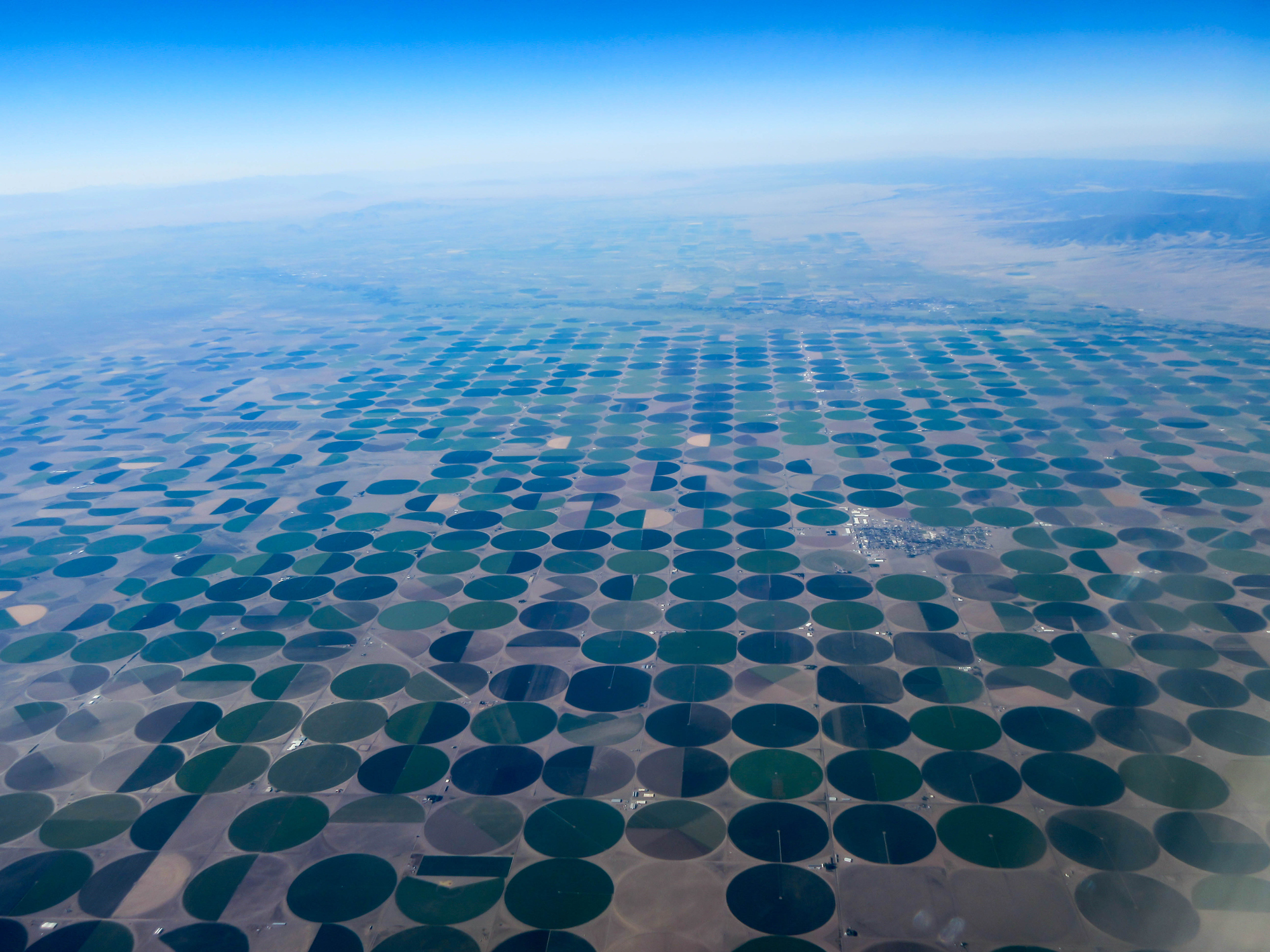 Aerial view of center pivot fields